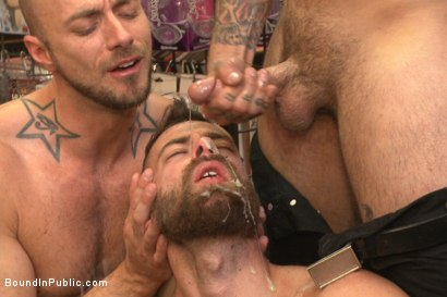 "Photo number 13 from ""Give the cheap whore what he deserves!"" shot for Bound in Public on Kink.com. Featuring Connor Maguire, Jessie Colter and Seth Fisher in hardcore BDSM & Fetish porn."