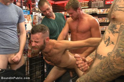 "Photo number 9 from ""Give the cheap whore what he deserves!"" shot for Bound in Public on Kink.com. Featuring Connor Maguire, Jessie Colter and Seth Fisher in hardcore BDSM & Fetish porn."