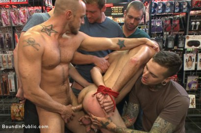 "Photo number 5 from ""Give the cheap whore what he deserves!"" shot for Bound in Public on Kink.com. Featuring Connor Maguire, Jessie Colter and Seth Fisher in hardcore BDSM & Fetish porn."