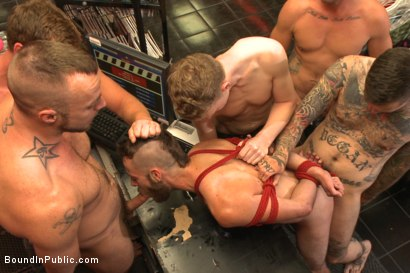 Photo number 4 from Beard full of cum - Bound stud fucked with machines and cock alike! shot for Bound in Public on Kink.com. Featuring Connor Maguire, Jessie Colter and Seth Fisher in hardcore BDSM & Fetish porn.