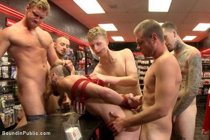 Beard full of cum - Bound stud fucked with machines and cock alike!