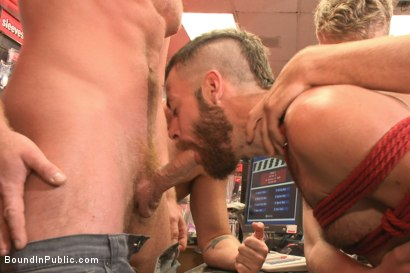 Photo number 3 from Beard full of cum - Bound stud fucked with machines and cock alike! shot for Bound in Public on Kink.com. Featuring Connor Maguire, Jessie Colter and Seth Fisher in hardcore BDSM & Fetish porn.