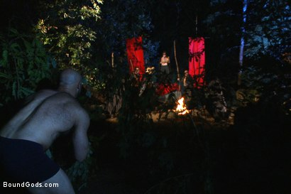 Photo number 1 from The Cabin Series #2 - The Red Moon Festival  shot for Bound Gods on Kink.com. Featuring Kip Johnson and Tatum in hardcore BDSM & Fetish porn.