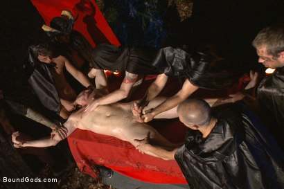 Photo number 3 from The Cabin Series #2 - The Red Moon Festival  shot for Bound Gods on Kink.com. Featuring Kip Johnson and Tatum in hardcore BDSM & Fetish porn.