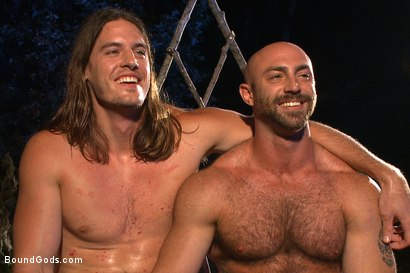 Photo number 15 from The Cabin Series #2 - The Red Moon Festival  shot for Bound Gods on Kink.com. Featuring Kip Johnson and Tatum in hardcore BDSM & Fetish porn.