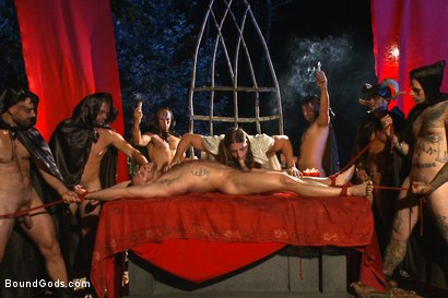 Photo number 8 from The Cabin Series #2 - The Red Moon Festival  shot for Bound Gods on Kink.com. Featuring Kip Johnson and Tatum in hardcore BDSM & Fetish porn.