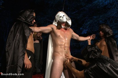 Photo number 2 from The Cabin Series #2 - The Red Moon Festival  shot for Bound Gods on Kink.com. Featuring Kip Johnson and Tatum in hardcore BDSM & Fetish porn.