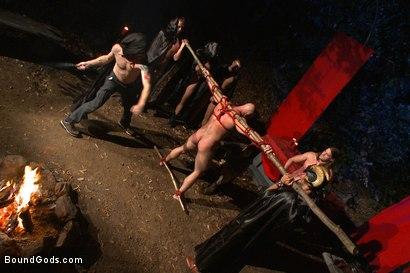 Photo number 11 from The Cabin Series #2 - The Red Moon Festival  shot for Bound Gods on Kink.com. Featuring Kip Johnson and Tatum in hardcore BDSM & Fetish porn.