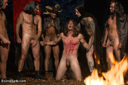 Photo number 13 from The Cabin Series #2 - The Red Moon Festival  shot for Bound Gods on Kink.com. Featuring Kip Johnson and Tatum in hardcore BDSM & Fetish porn.