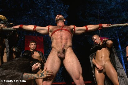 Photo number 6 from The Cabin Series #2 - The Red Moon Festival  shot for Bound Gods on Kink.com. Featuring Kip Johnson and Tatum in hardcore BDSM & Fetish porn.