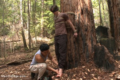 Photo number 1 from Bi stud bound and edged in the forrest shot for Men On Edge on Kink.com. Featuring Dirk Wakefield in hardcore BDSM & Fetish porn.
