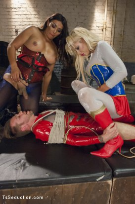 Photo number 15 from THE LEAGUE OF EXTRAORDINARY TRANSSEXUALS: PART 1 SUPER HERO FEATURE shot for TS Seduction on Kink.com. Featuring Vaniity, Courtney Taylor and Will Havoc in hardcore BDSM & Fetish porn.