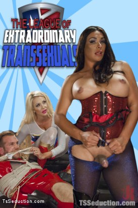Photo number 17 from THE LEAGUE OF EXTRAORDINARY TRANSSEXUALS: PART 1 SUPER HERO FEATURE shot for TS Seduction on Kink.com. Featuring Vaniity, Courtney Taylor and Will Havoc in hardcore BDSM & Fetish porn.