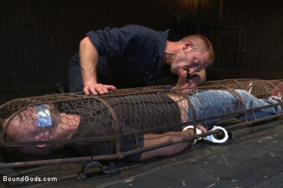 Photo number 2 from Helpless and caged like an animal shot for Bound Gods on Kink.com. Featuring Adam Herst and Colt Rivers in hardcore BDSM & Fetish porn.