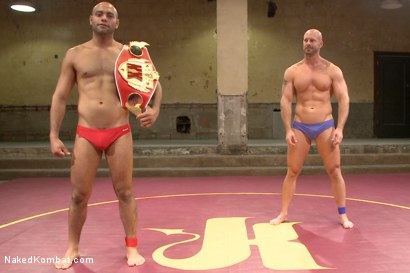 """Photo number 1 from """"Return of the Champion"""" - Summer Smackdown: 1st Semi Final Match shot for Naked Kombat on Kink.com. Featuring Mitch Vaughn and Leo Forte in hardcore BDSM & Fetish porn."""