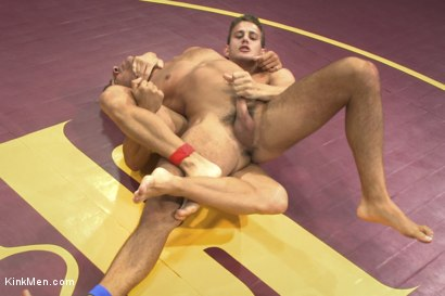 Two hot hunks wrestle to be top cock while the loser gets ass fucked!