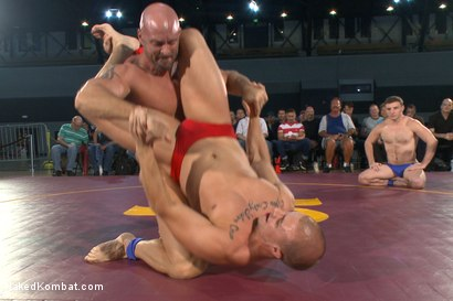 Photo number 1 from Beast & Hammer vs Machine & Destroyer - Live Tag Team Match shot for Naked Kombat on Kink.com. Featuring Mitch Vaughn, Tatum, Doug Acre and Eli Hunter in hardcore BDSM & Fetish porn.