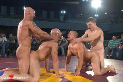 Photo number 9 from Beast & Hammer vs Machine & Destroyer - Live Tag Team Match shot for Naked Kombat on Kink.com. Featuring Mitch Vaughn, Tatum, Doug Acre and Eli Hunter in hardcore BDSM & Fetish porn.