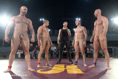 Photo number 15 from Beast & Hammer vs Machine & Destroyer - Live Tag Team Match shot for Naked Kombat on Kink.com. Featuring Mitch Vaughn, Tatum, Doug Acre and Eli Hunter in hardcore BDSM & Fetish porn.