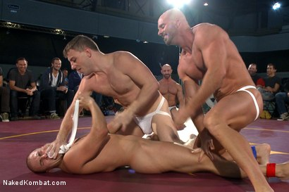 Photo number 5 from Beast & Hammer vs Machine & Destroyer - Live Tag Team Match shot for Naked Kombat on Kink.com. Featuring Mitch Vaughn, Tatum, Doug Acre and Eli Hunter in hardcore BDSM & Fetish porn.