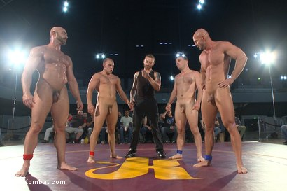 Photo number 10 from Beast & Hammer vs Machine & Destroyer - Live Tag Team Match shot for Naked Kombat on Kink.com. Featuring Mitch Vaughn, Tatum, Doug Acre and Eli Hunter in hardcore BDSM & Fetish porn.