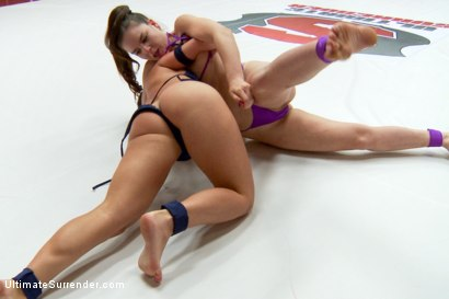 Photo number 2 from Feather Weight Championship Matchup shot for Ultimate Surrender on Kink.com. Featuring Serena Blair and Juliette March in hardcore BDSM & Fetish porn.