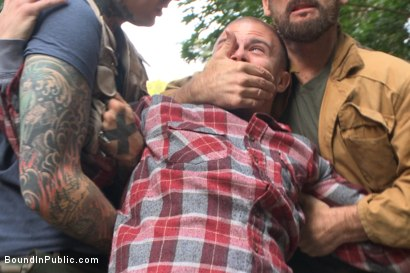 Photo number 2 from No one can hear you scream! shot for Bound in Public on Kink.com. Featuring Christian Wilde, Brock Avery and Eli Hunter in hardcore BDSM & Fetish porn.