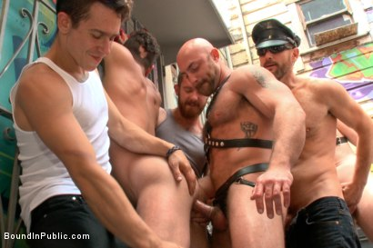 Photo number 5 from Pissed off landlord gangfucked into submission by horny party goers shot for Bound in Public on Kink.com. Featuring Jimmy Bullet, Leon Fox and Tatum in hardcore BDSM & Fetish porn.