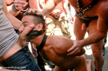 Photo number 4 from Pissed off landlord gangfucked into submission by horny party goers shot for Bound in Public on Kink.com. Featuring Jimmy Bullet, Leon Fox and Tatum in hardcore BDSM & Fetish porn.