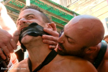 Photo number 2 from Pissed off landlord gangfucked into submission by horny party goers shot for Bound in Public on Kink.com. Featuring Jimmy Bullet, Leon Fox and Tatum in hardcore BDSM & Fetish porn.