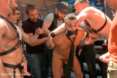 Photo number 1 from Pissed off landlord gangfucked into submission by horny party goers shot for Bound in Public on Kink.com. Featuring Jimmy Bullet, Leon Fox and Tatum in hardcore BDSM & Fetish porn.