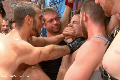 Photo number 8 from Pissed off landlord gangfucked into submission by horny party goers shot for Bound in Public on Kink.com. Featuring Jimmy Bullet, Leon Fox and Tatum in hardcore BDSM & Fetish porn.