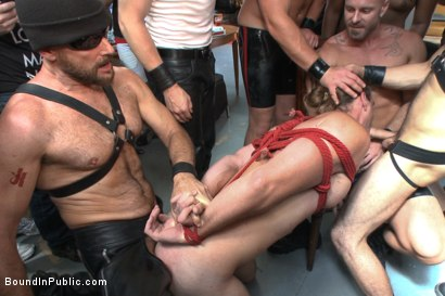 Photo number 9 from Bound hunk publicly tormented and gang fucked for his first Dore Alley shot for Bound in Public on Kink.com. Featuring Mitch Vaughn, Kip Johnson and Connor Maguire in hardcore BDSM & Fetish porn.