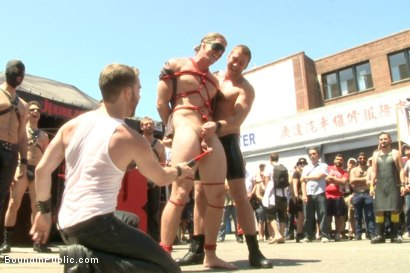 Photo number 3 from Bound hunk publicly tormented and gang fucked for his first Dore Alley shot for Bound in Public on Kink.com. Featuring Mitch Vaughn, Kip Johnson and Connor Maguire in hardcore BDSM & Fetish porn.