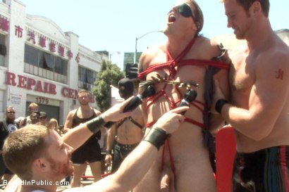 Photo number 5 from Bound hunk publicly tormented and gang fucked for his first Dore Alley shot for Bound in Public on Kink.com. Featuring Mitch Vaughn, Kip Johnson and Connor Maguire in hardcore BDSM & Fetish porn.