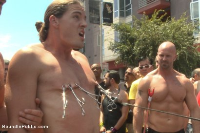 Photo number 4 from Publicly humiliated, asshole zapped, and covered in strangers' cum shot for Bound in Public on Kink.com. Featuring Mitch Vaughn, Kip Johnson and Connor Maguire in hardcore BDSM & Fetish porn.