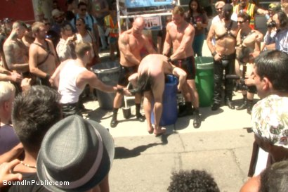 Photo number 2 from Publicly humiliated, asshole zapped, and covered in strangers' cum shot for Bound in Public on Kink.com. Featuring Mitch Vaughn, Kip Johnson and Connor Maguire in hardcore BDSM & Fetish porn.