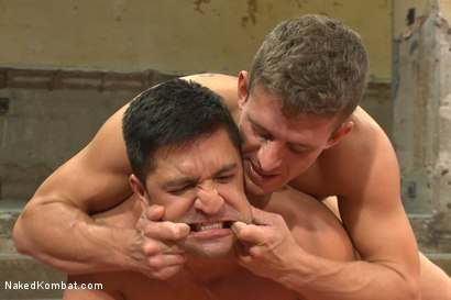 """Photo number 10 from Alexander """"The Great"""" Gustavo vs Dominic """"The Dominator"""" Pacifico shot for Naked Kombat on Kink.com. Featuring Dominic Pacifico and Alexander Gustavo in hardcore BDSM & Fetish porn."""