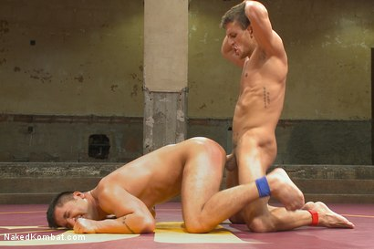 """Photo number 13 from Alexander """"The Great"""" Gustavo vs Dominic """"The Dominator"""" Pacifico shot for Naked Kombat on Kink.com. Featuring Dominic Pacifico and Alexander Gustavo in hardcore BDSM & Fetish porn."""