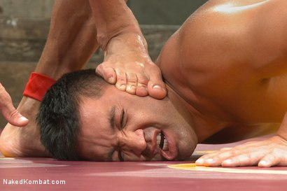 """Photo number 14 from Alexander """"The Great"""" Gustavo vs Dominic """"The Dominator"""" Pacifico shot for Naked Kombat on Kink.com. Featuring Dominic Pacifico and Alexander Gustavo in hardcore BDSM & Fetish porn."""