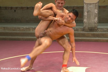 """Photo number 4 from Alexander """"The Great"""" Gustavo vs Dominic """"The Dominator"""" Pacifico shot for Naked Kombat on Kink.com. Featuring Dominic Pacifico and Alexander Gustavo in hardcore BDSM & Fetish porn."""