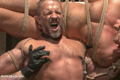 Photo number 2 from Muscle Bondage - Live Show shot for Bound Gods on Kink.com. Featuring Dirk Caber, Jessie Colter and Trenton Ducati in hardcore BDSM & Fetish porn.