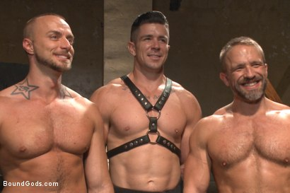 Photo number 15 from Muscle Bondage - Live Show shot for Bound Gods on Kink.com. Featuring Dirk Caber, Jessie Colter and Trenton Ducati in hardcore BDSM & Fetish porn.