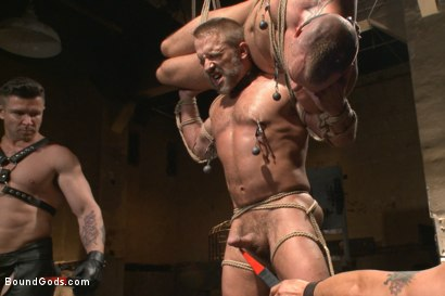 Photo number 3 from Muscle Bondage - Live Show shot for Bound Gods on Kink.com. Featuring Dirk Caber, Jessie Colter and Trenton Ducati in hardcore BDSM & Fetish porn.