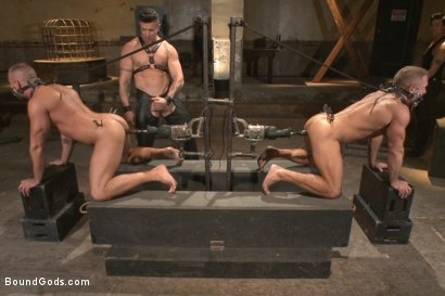 Photo number 6 from Muscle Bondage - Live Show shot for Bound Gods on Kink.com. Featuring Dirk Caber, Jessie Colter and Trenton Ducati in hardcore BDSM & Fetish porn.