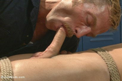 Photo number 4 from The Creepy Handyman ties his new victim up and fucks him senseless shot for Bound Gods on Kink.com. Featuring Adam Herst and Micky Mackenzie in hardcore BDSM & Fetish porn.