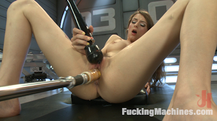 Tall, Perky Tits, Looooong Legs and Determined to Cum from Machine Sex