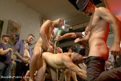 Photo number 9 from Bar Slut Gang Fucked and Covered in the Crowd's Cum  shot for Bound in Public on Kink.com. Featuring Christian Wilde, Dylan Strokes and Corbin Dallas in hardcore BDSM & Fetish porn.