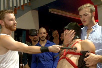Photo number 1 from Bar Slut Gang Fucked and Covered in the Crowd's Cum  shot for Bound in Public on Kink.com. Featuring Christian Wilde, Dylan Strokes and Corbin Dallas in hardcore BDSM & Fetish porn.
