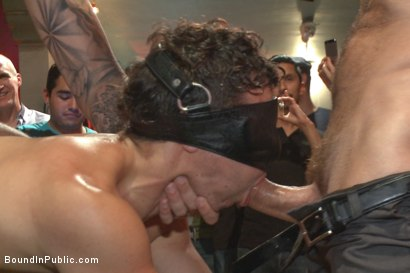 Photo number 6 from Bar Slut Gang Fucked and Covered in the Crowd's Cum  shot for Bound in Public on Kink.com. Featuring Christian Wilde, Dylan Strokes and Corbin Dallas in hardcore BDSM & Fetish porn.